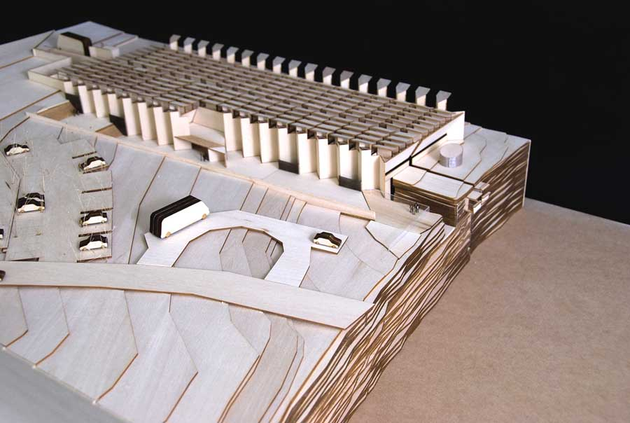 timber architectural model of Australian Opal Centre